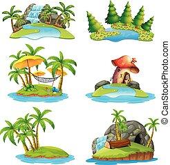 ilhas, diferente, cenas