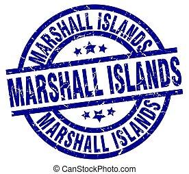 ilhas marshall, azul, redondo, grunge, selo