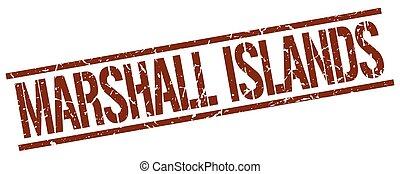 ilhas marshall, marrom, quadrado, selo