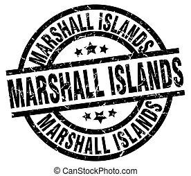 ilhas marshall, pretas, redondo, grunge, selo