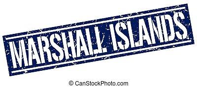 ilhas marshall, quadrado azul, selo