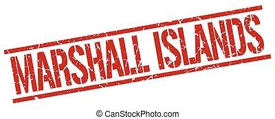 ilhas marshall, quadrado vermelho, selo