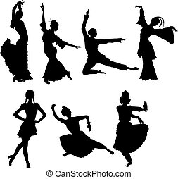 folk dancers - ilhouettes of folk dancers