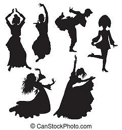 folk dancers - ilhouettes of folk dancers