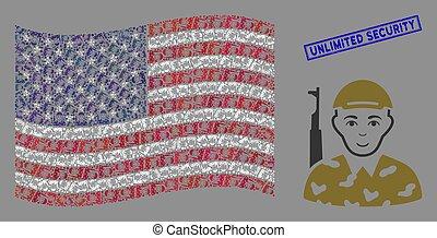 ilimitado, sello, collage, estados, unido, bandera, textured...