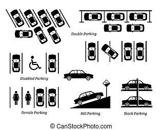 illégal, stationnement, autre, slots., voiture, spécial
