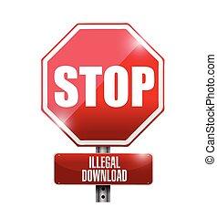 illégal, téléchargements, arrêt, illustration, signe, route