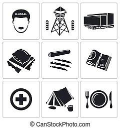 illégal, vecteur, ensemble, migration, icônes