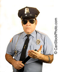 , a uniformed police officer standing holding his club in his hand, over white