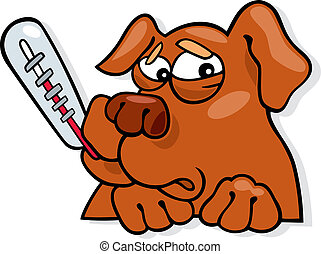 Cartoon illustration of ill dog with thermometer