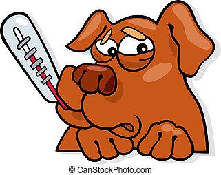 Ill dog - Cartoon illustration of ill dog with thermometer