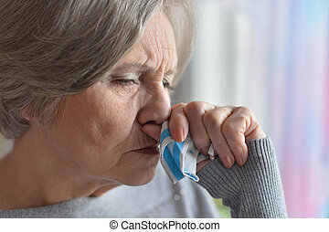 Ill elderly woman