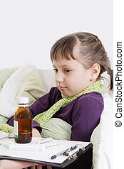Ill girl lying in bed in front different medicine - Sad ill...