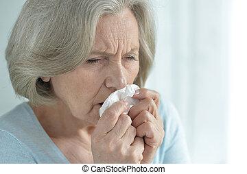ill Senior woman - Portrait of a ill senior woman close up