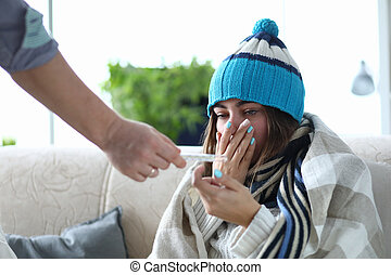 Ill sneezing woman