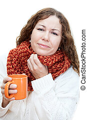 Ill woman holding a mug of tea