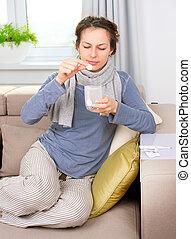 Ill Woman Taking Aspirin Pills. Headache. Medicines