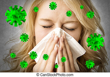 Ill woman with tissue is sneezing virus
