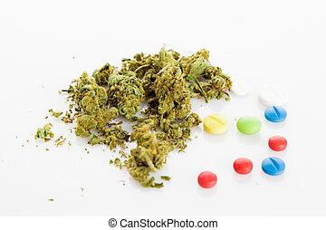 illegális, drugs., altatószer, drogok