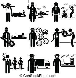 illegális, elfoglaltság, dolgok, bűncselekmény
