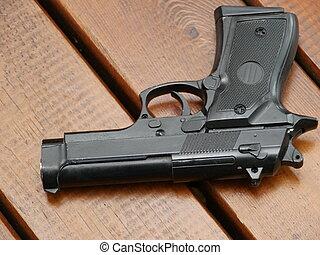 illegális, kézifegyver, asztal