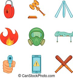 Illegal action icons set, cartoon style - Illegal action...