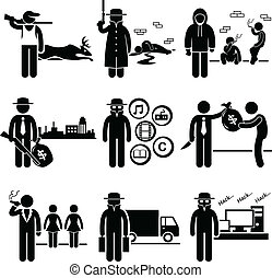 A set of people pictogram representing job profession in the industry of illegal activity and crime. They are poachers, killer, drug dealer, gangster, piracy, loan shark, pimps, smuggler, and hacker.