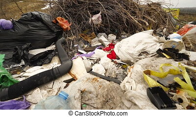 Illegal dumping of waste. Household waste are dumped...