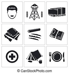 Illegal migration Vector Icons Set - people migration Vector...