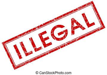 illegal, röda fyrkantiga, stämpel, isolerat, vita, bakgrund