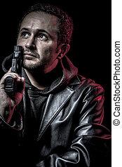 illegal, tjuv, beväpnat, man, med, svart leather klå upp, farlig