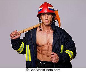 illeték, portré, tűzoltó