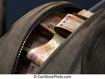 Illicit Cash In A Brown Duffel Bag - A concept depicting an...