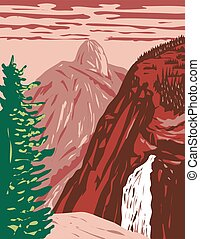 Illilouette Falls with Half Dome on the Illilouette Creek Tributary of Merced River Within Yosemite National Park California USA WPA Poster Art