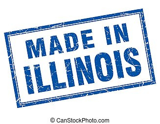 Illinois blue square grunge made in stamp