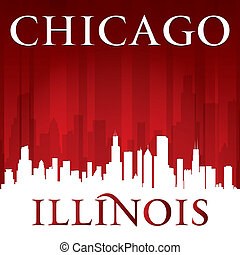 illinois, chicago, fond, horizon, ville, rouges, silhouette