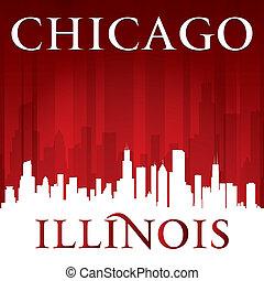 illinois, chicago, fondo, orizzonte, città, rosso, silhouette