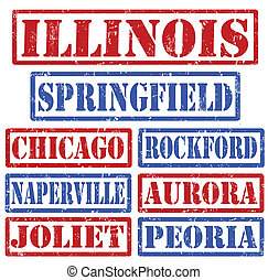 Set of Illinois cities stamps on white background, vector illustration