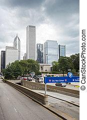 illinois, coche, infraestructura, céntrico, chicago