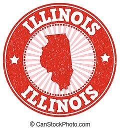Illinois grunge stamp