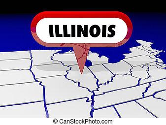 illinois, il, carte état, épingle, emplacement, destination, 3d, illustration