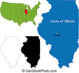 Illinois map - State of Illinois, USA