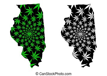 Illinois (United States of America, USA, U.S., US) - map is designed cannabis leaf green and black, State of Illinois map made of marijuana (marihuana, THC) foliage,