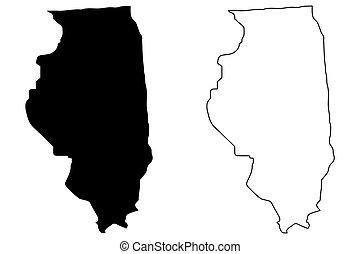 Illinois map vector illustration, scribble sketch Illinois map