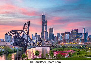 illinois, parque, skyline, chicago, eua