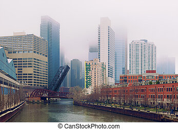 illinois, pont, chicago, usa