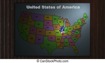 Illinois pull out from USA states abbreviations map