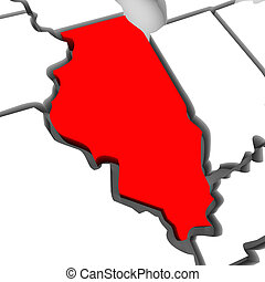 Illinois Red Abstract 3D State Map United States America - A...