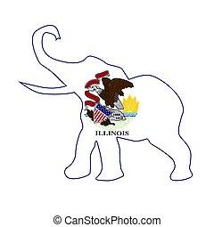Illinois Republican Elephant Flag