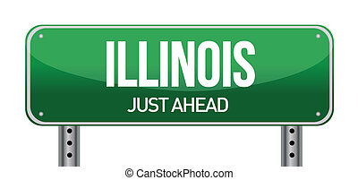Illinois Road Sign illustration design over a white background